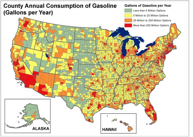 Gasoline Consumption map