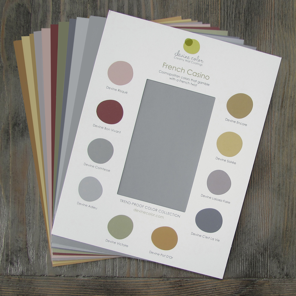 Devine Color Discovery Card French Casino and 8-by-11-inch Deluxe Swatches made with real paint.