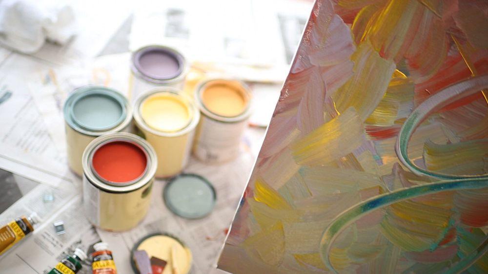 Gretchen Schauffler, her art, and her paint colors.