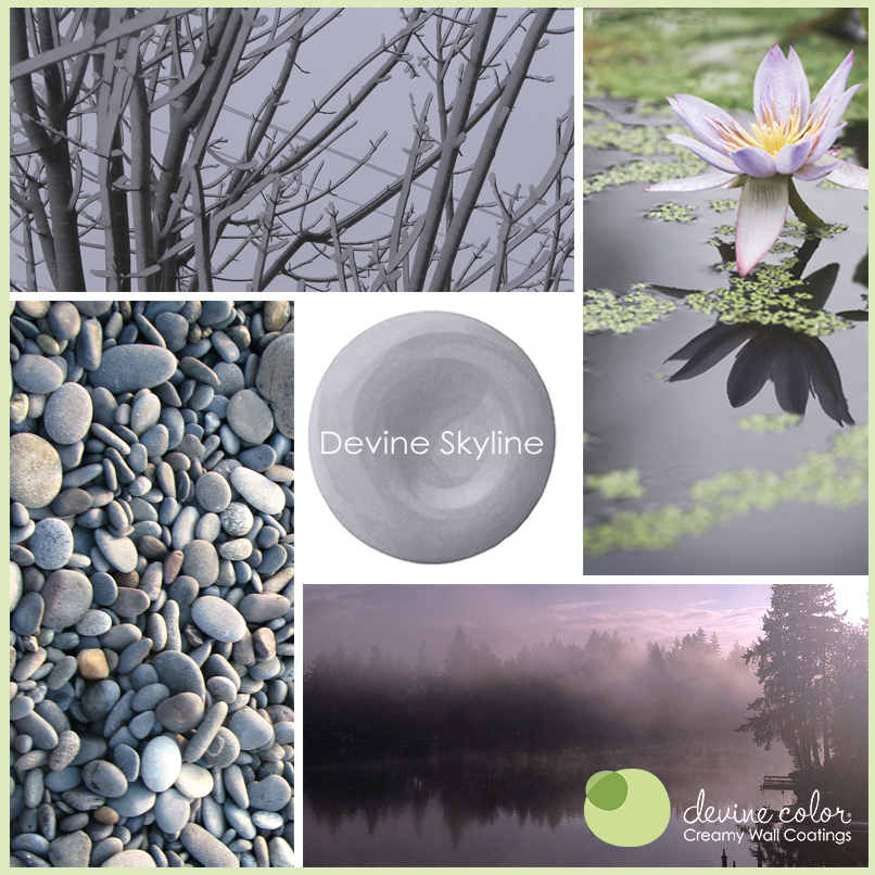Devine Skyline is a perfectly handcrafted cool lavender wall color. Part of Devine Color Silver Skies paint color collection.