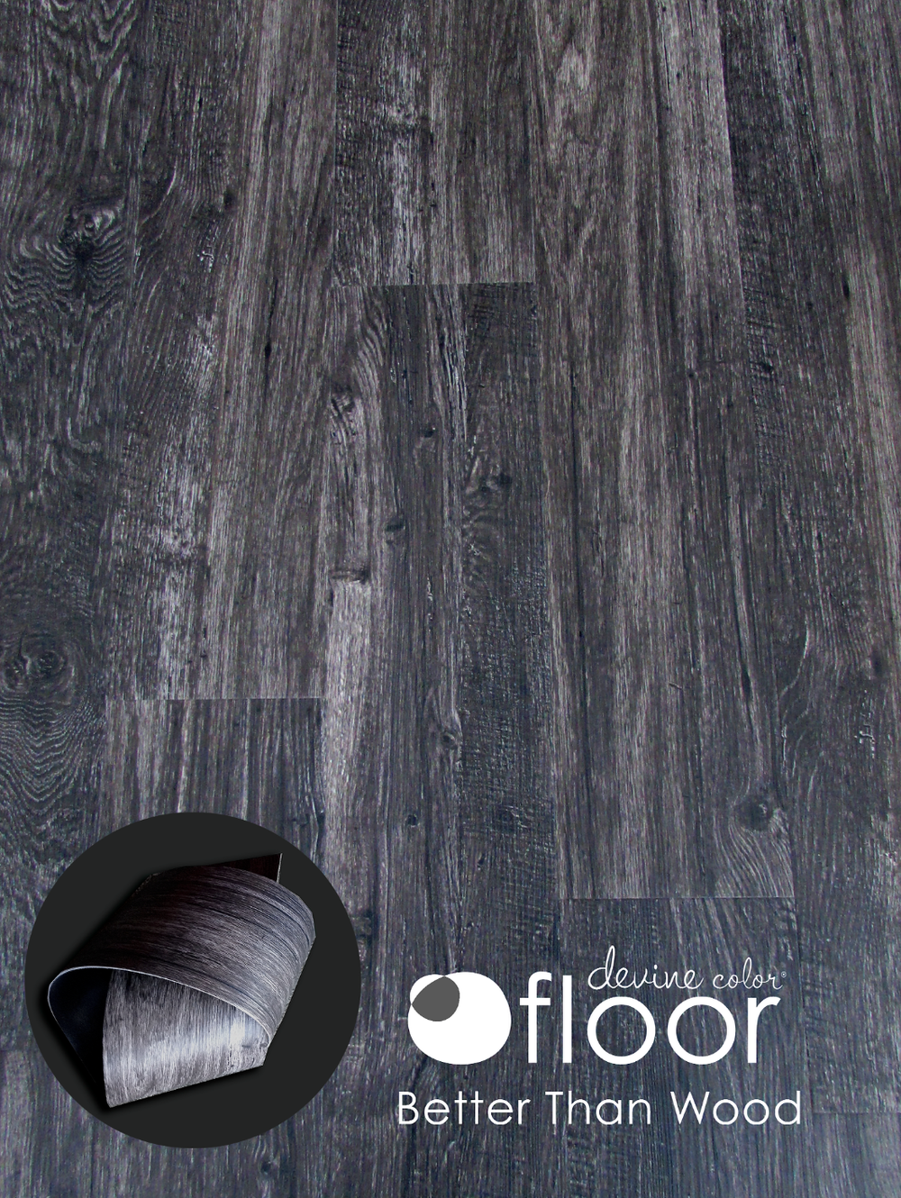 Devine Black Oak Shown. Better than wood, Devine Color Floor Contact luxury vinyl floors have commercial strength for residential living.