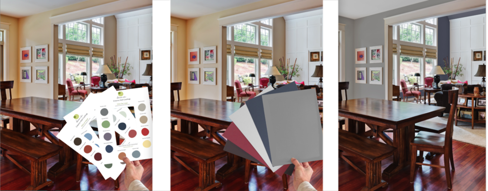 Explore your perfect paint colors with Devine Discovery Cards and 8-by-11-inch Deluxe Swatches