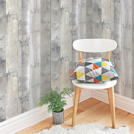 This reclaimed wood wallpaper pattern by Devine Color is available at a Target store near you.