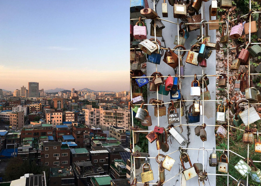 city sunsets and locks that hold secrets and love (Seoul), 2017