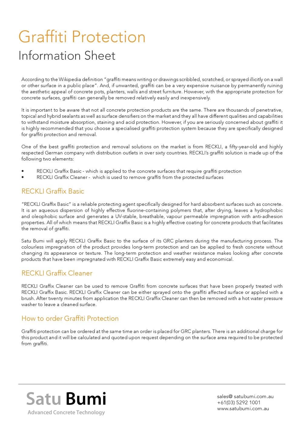 Graffiti Protection - Satu Bumi Information Sheet
