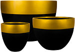 GRC Pot - black         Dipped Gold Rim