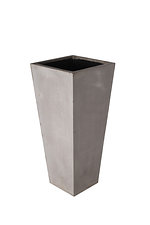 tapered square grc planter in raw concrete colour