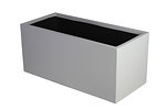 example of a rectangle trough grc planter in a light grey painted finish