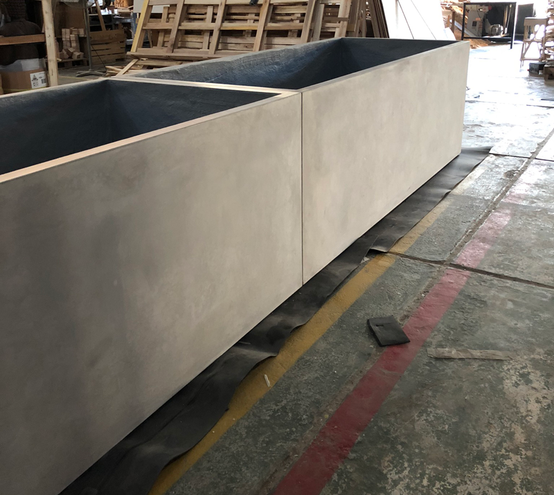 Custom made planter boxes, staged onsite before delivery.