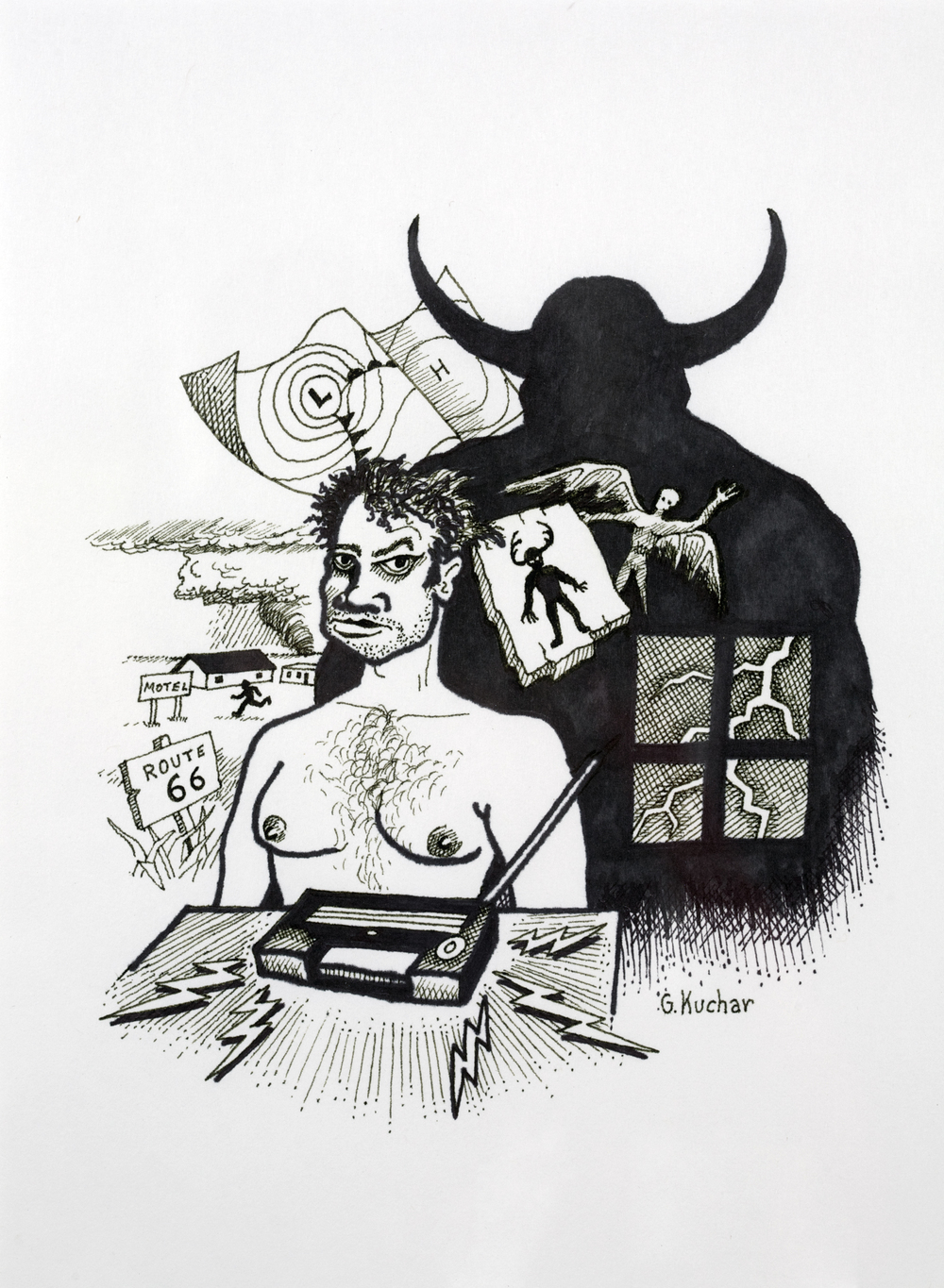 George Kuchar,  Demon Domain , 1996, ink on paper, 12 x 9 inches