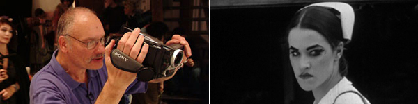 Left: Jennifer Kroot, It Came from Kuchar, 2009, still from a color video, 86 minutes (George Kuchar).     Right: George Kuchar, The Devil's Cleavage, 1975, still from a black-and-white film in 16mm, 122 minutes.