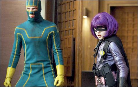 Aaron Johnson as Kick-Ass and Chloë Moretz as Hit Girl in  Kick-Ass .