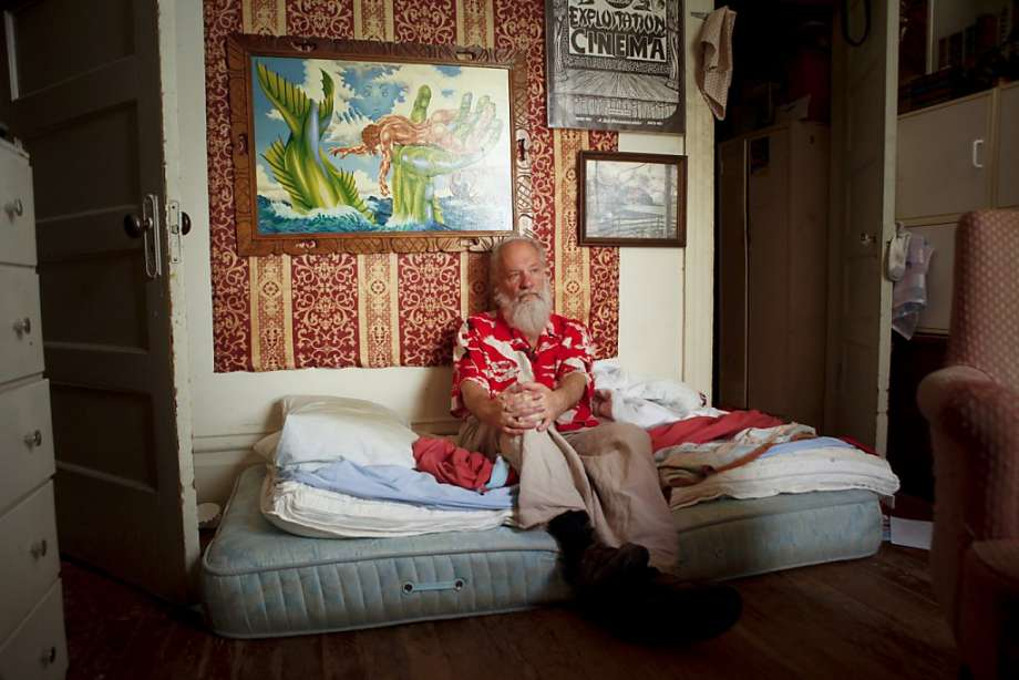 "Mike Kuchar, seen in his San Francisco, Calif., Mission district bedroom on Thursday, May 17, 2012, along with his late twin brother, George, was a star of the ""underground"" film scene of the 1960s and '70s. (Photo: Russell Yip, The Chronicle)"