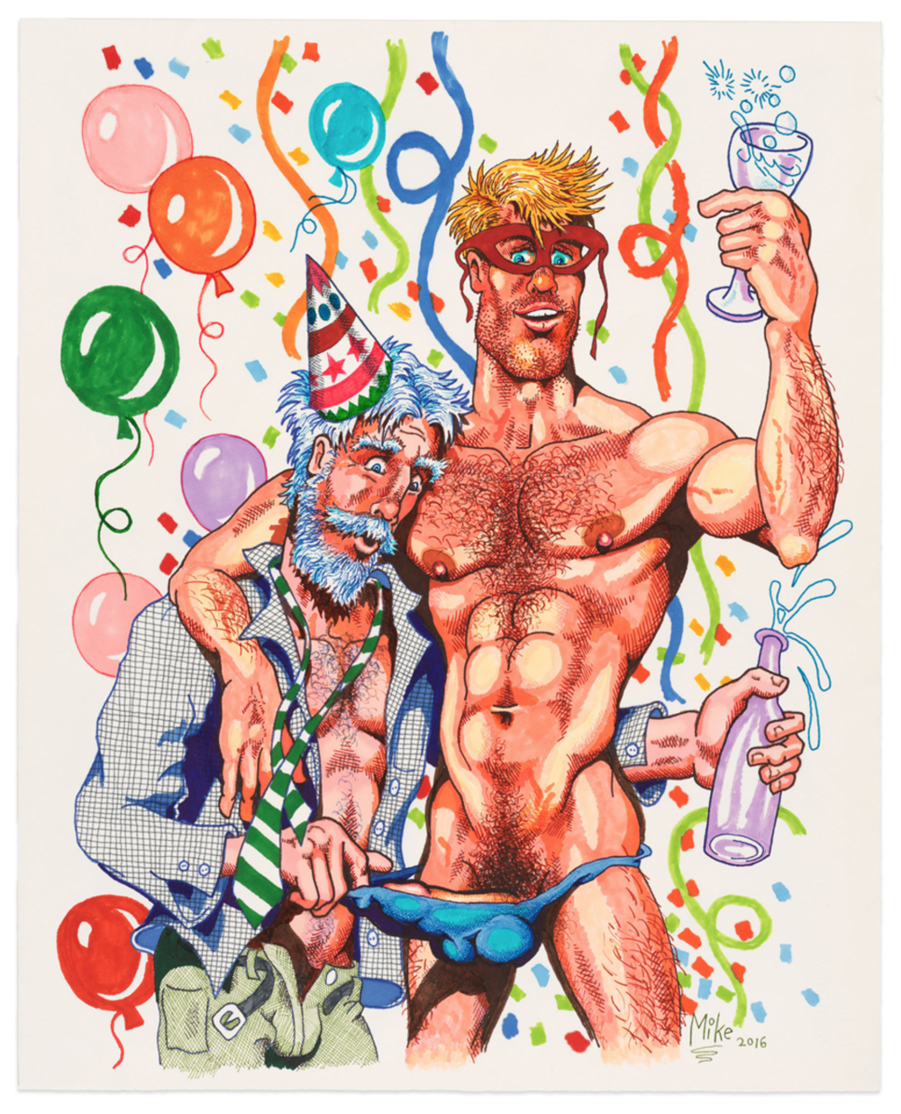 "Mike Kuchar,  Party Time , 2016-2017, Felt tip pen and ink on paper, 26.5"" x 21.5"" (67.3 x 54.6 cm); Courtesy Anton Kern Gallery."