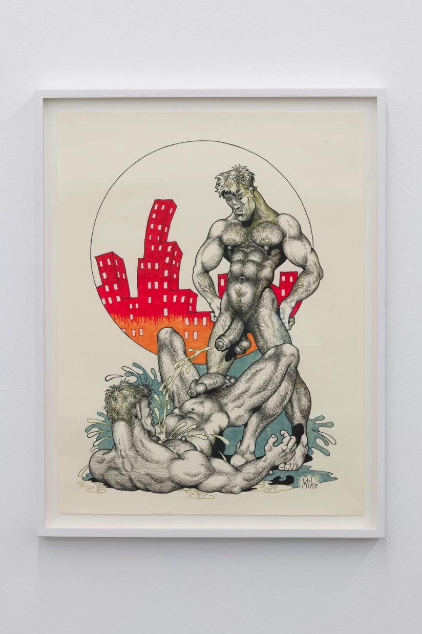 Mike Kuchar,  Liquid Dreams , c. 1980 - 1990's. Pencil, pen, felt pens, ink on paper. 26.5 x 20.5 inches.