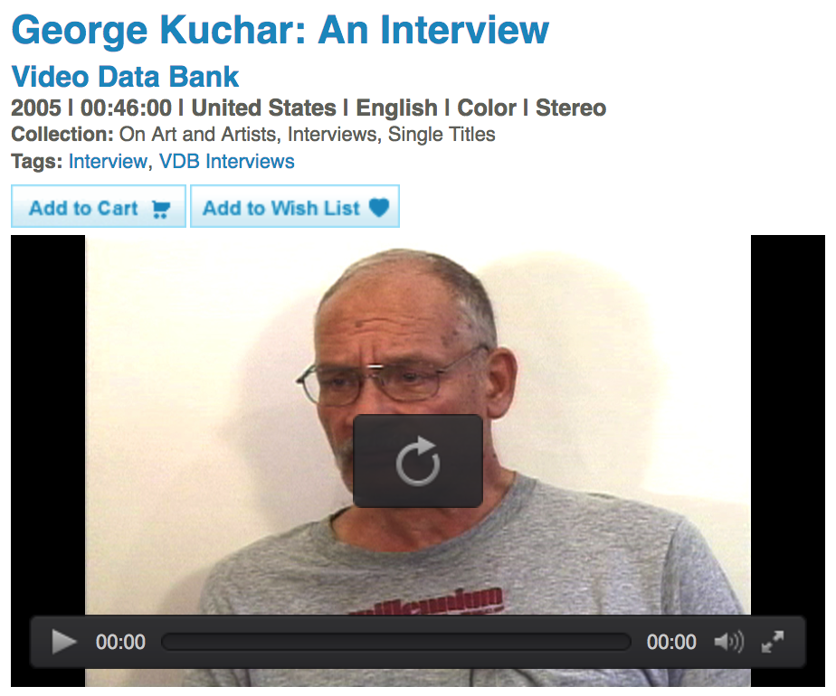 Clip of interview can be viewed here: http://www.vdb.org/titles/george-kuchar-interview