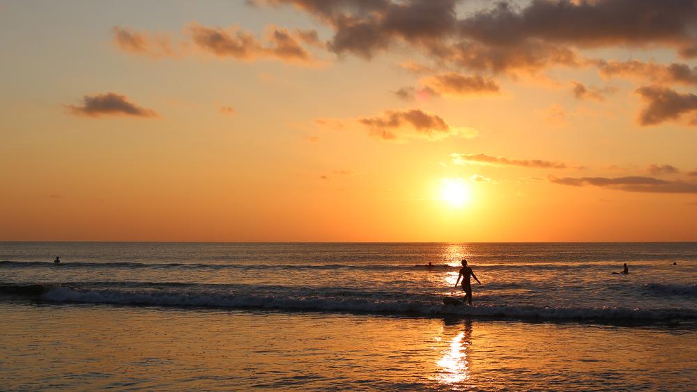 Solnedgang over Kuta Beach iBali, Indonesia