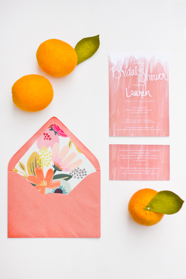 Floating Specks coral bridal shower invitation for Studio DIY.
