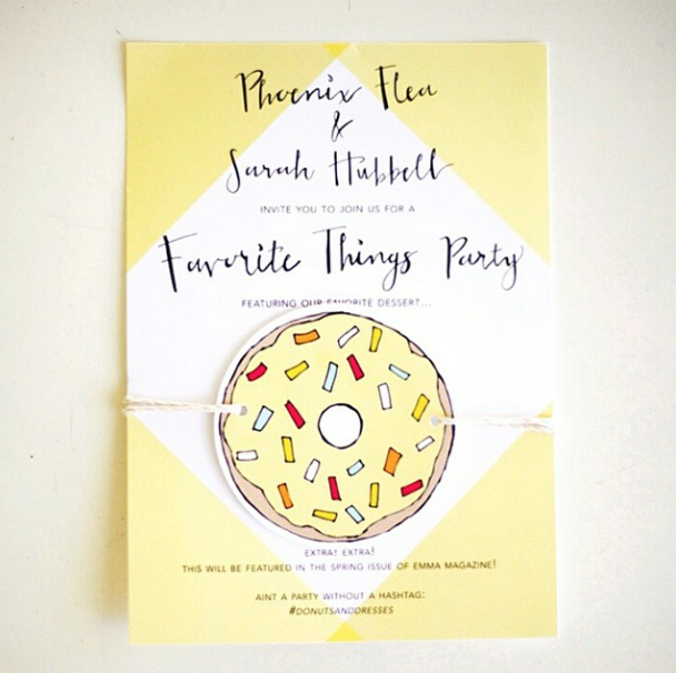Hand written invitation for Emma Magazine's Favorite Things Party featured in their Spring Issue.