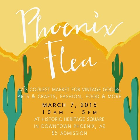 Hand Written + Hand Drawn Flyer for the Phoenix Flea