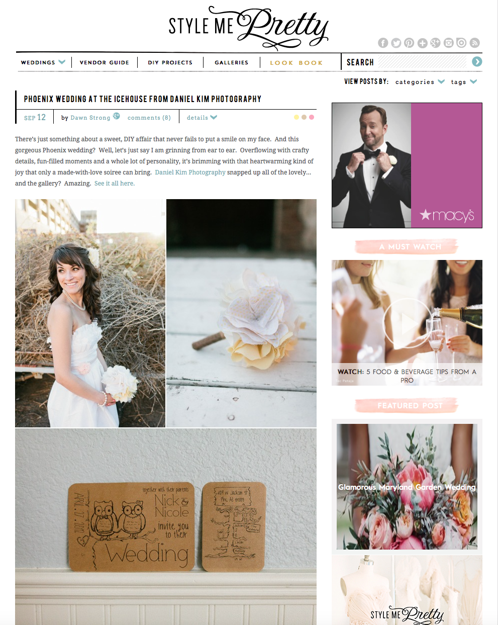 See our wedding with our DIY decor on Style Me Pretty
