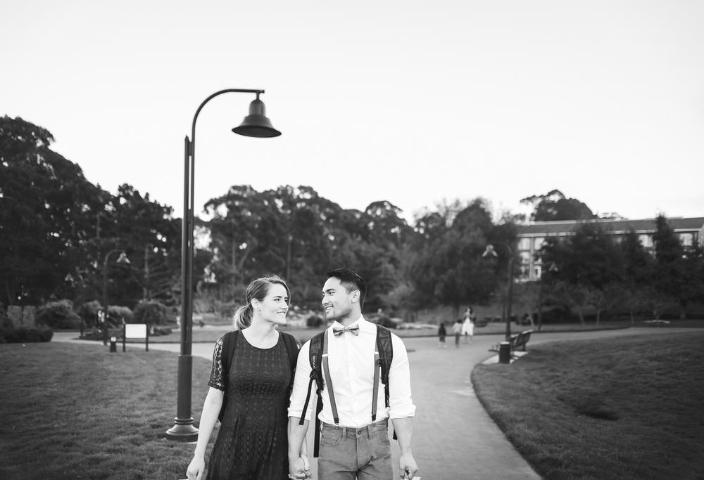 Couple walking through San Francisco Presidio