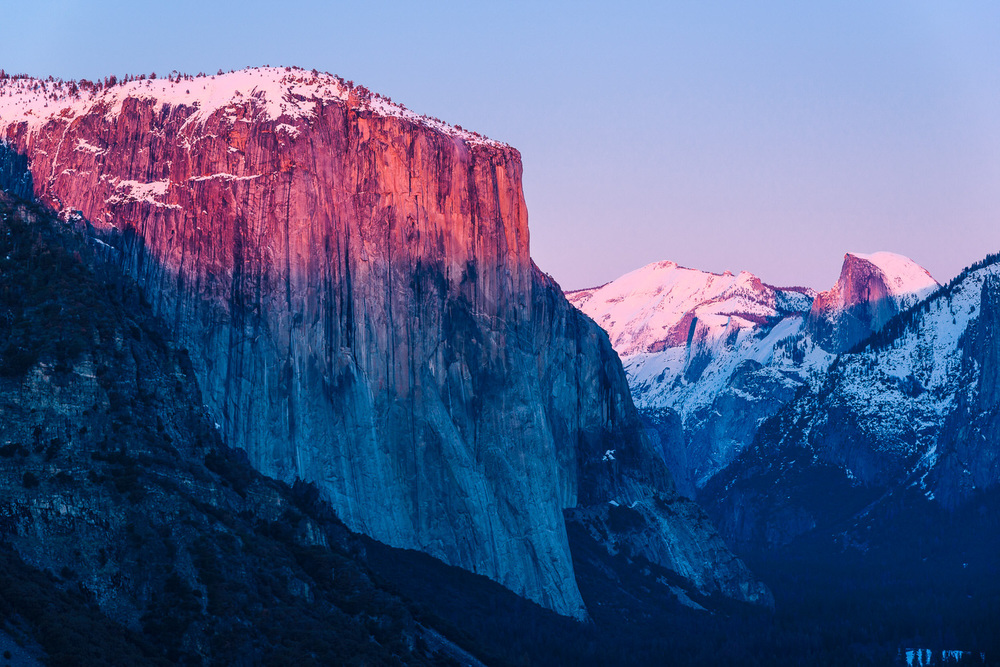 Final Winter Light on El Capitan and Half Dome Yosemite