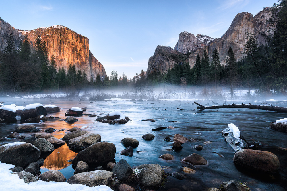 Yosemite Valley View Winter Sunset