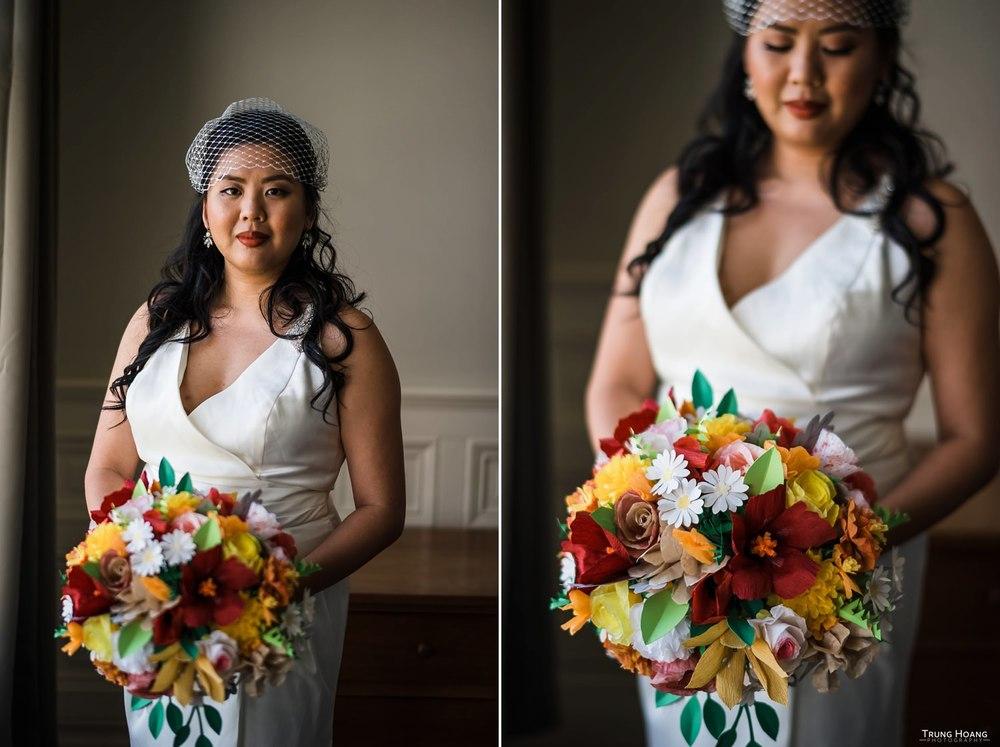 Wedding bride window light portrait
