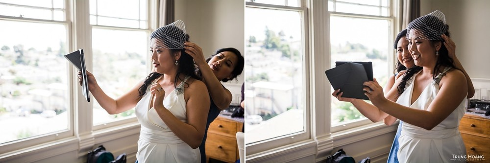 Candid Getting Ready Photos with Bridesmaid