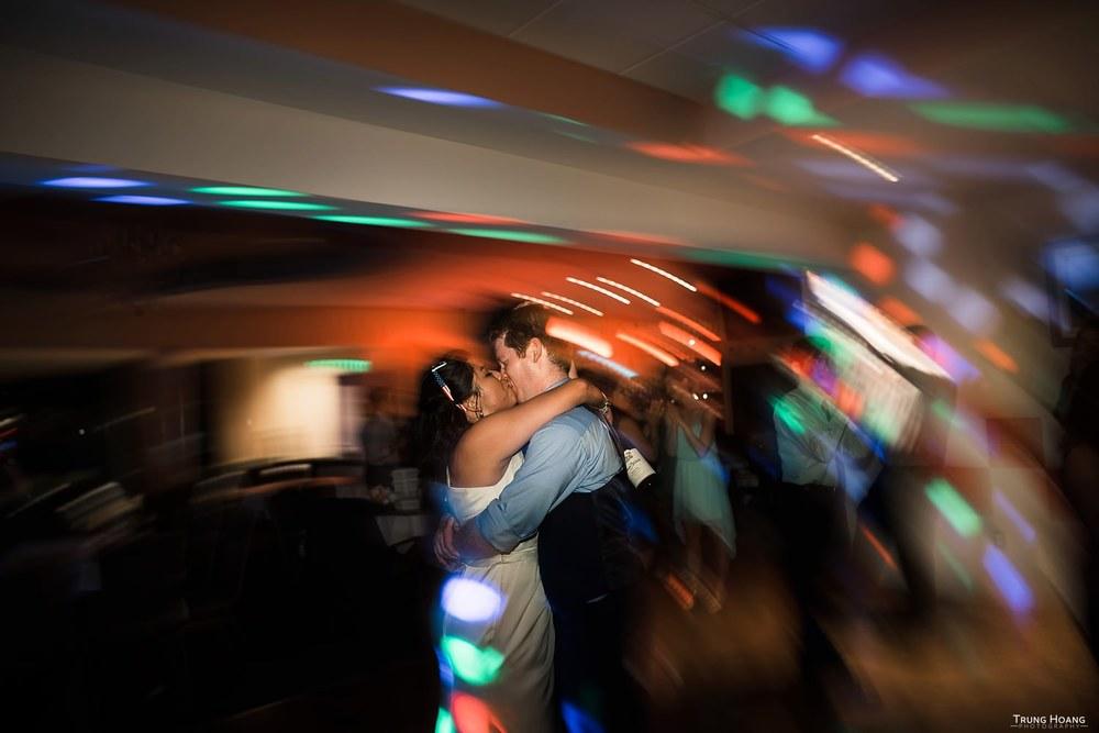 Wedding Couple Kissing on Dance Floor