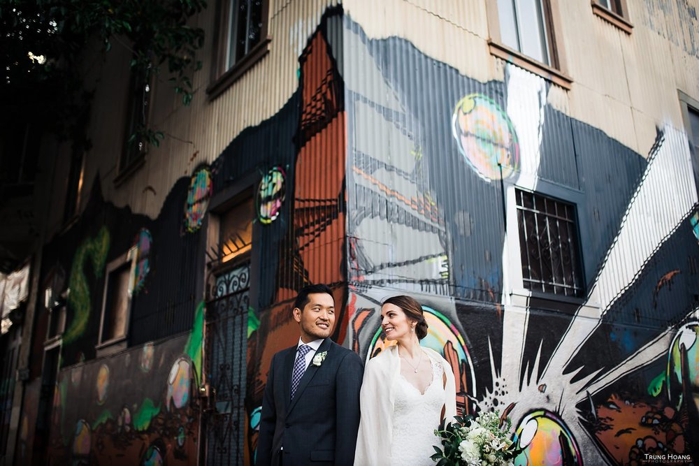 Urban graffiti couples portrait
