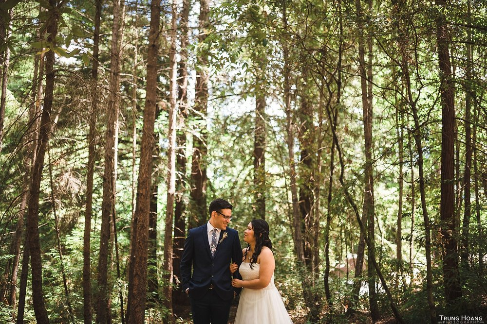 Shaded forest wedding photos