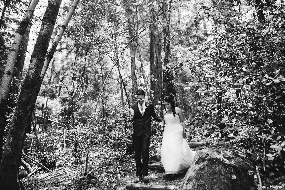 Walking through the forest wedding portrait
