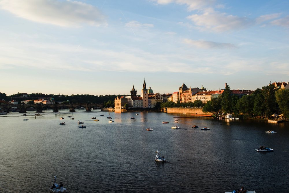 Paddle Boats on the Vltava River // Prague Travel Photography