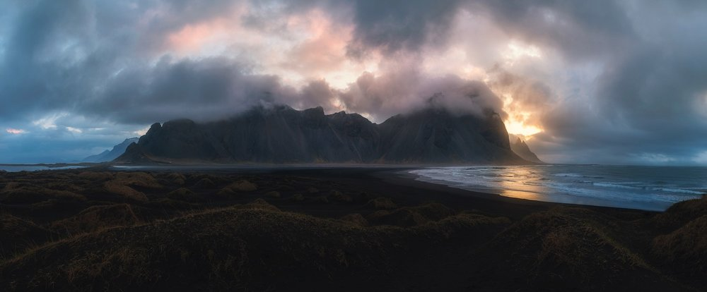 Sunrise Panorama at Vestrahorn, Iceland