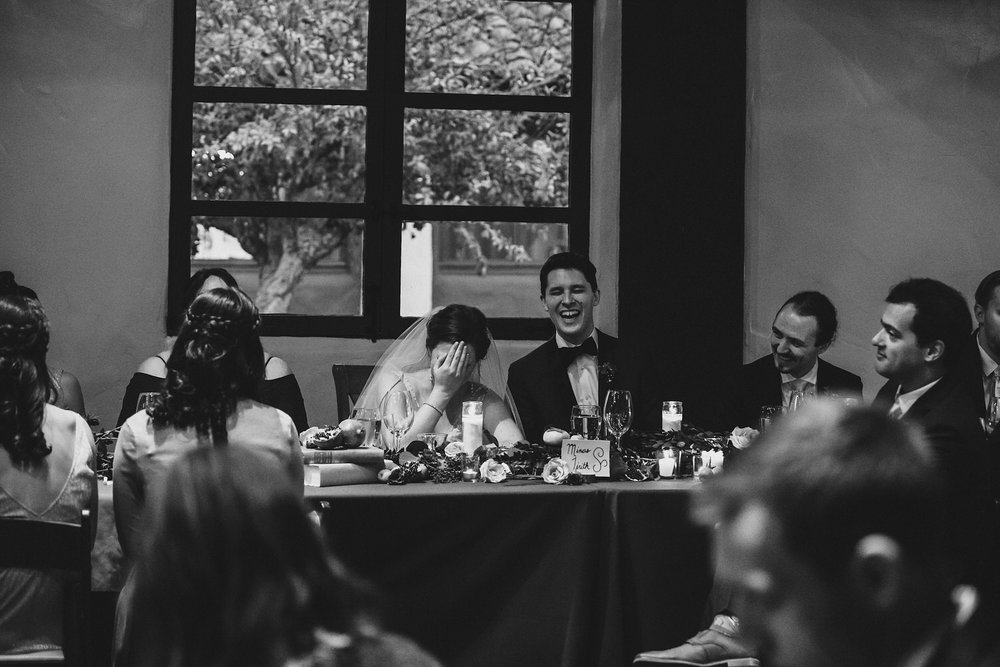 Couple reaction to toasts