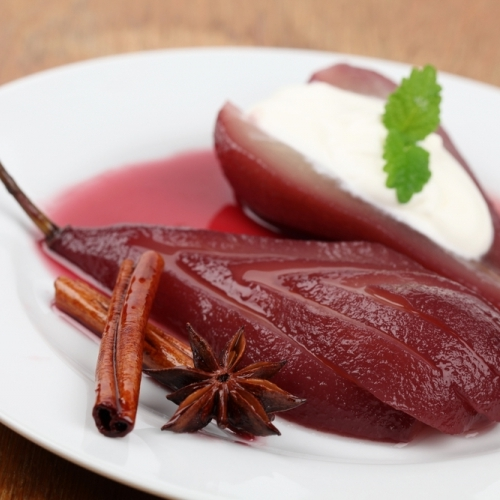Pears Poached in Port with Mascarpone -    Poached pears are an elegant yet light finale to a hearty fall meal.  We opt for the diminutive Seckel pear or incredibly sweet Comice.
