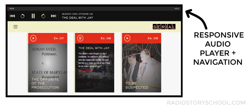 SERIAL PODCAST RESPONSIVE AUDIO PLAYER AND NAVIGATION