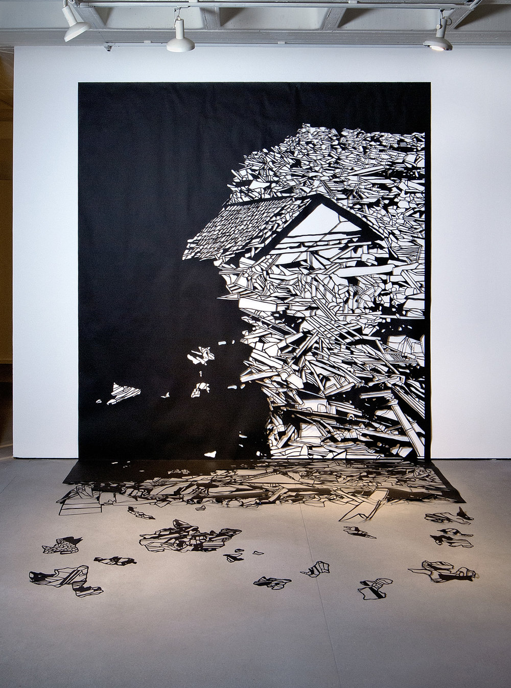 Noa Yekutieli, Home As a Brittle Surface, 2013, Manual paper cutting, 4x4x3m