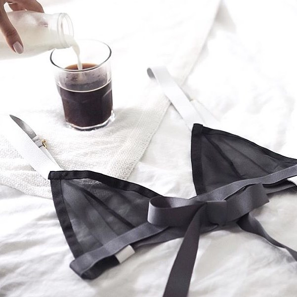 """ fakander-  The perfect morning. New gorgeous bra from @7962studio and coffee"""