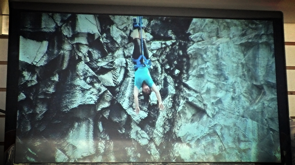 This is a picture of a video of me bungee jumping.
