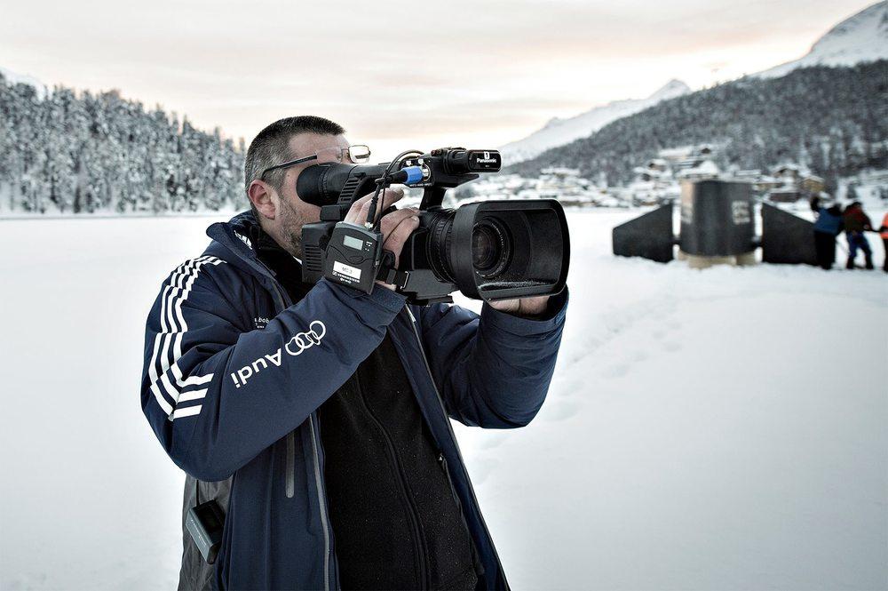 F. Giani / ibexmedia at work on St.Moritz lake. Photo: Gian Giovanoli KMU Fotografie