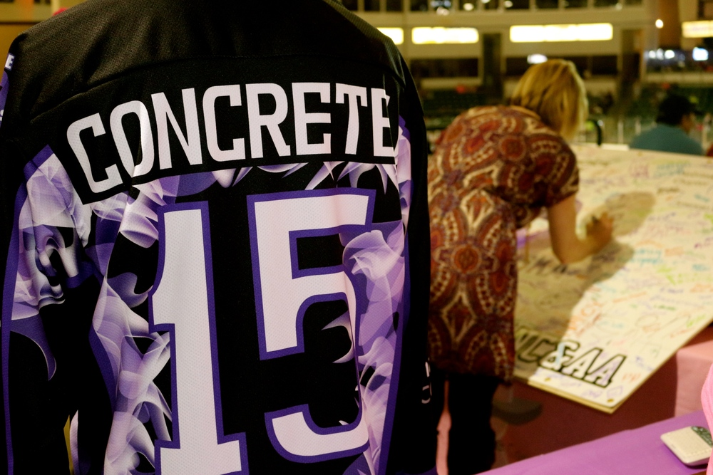 "Kearney Concrete Company sponsored the Tri-city Storm 'Concrete Cares"" Jerseys.  The jerseys were then auctioned off on eBay which returned $9,500 back to Concrete Cares of Nebraska."