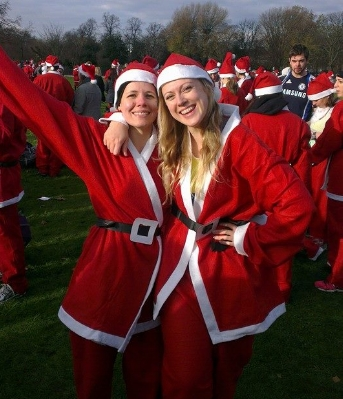 Me and my best friend at the start of the Santa Run 10k in 2015