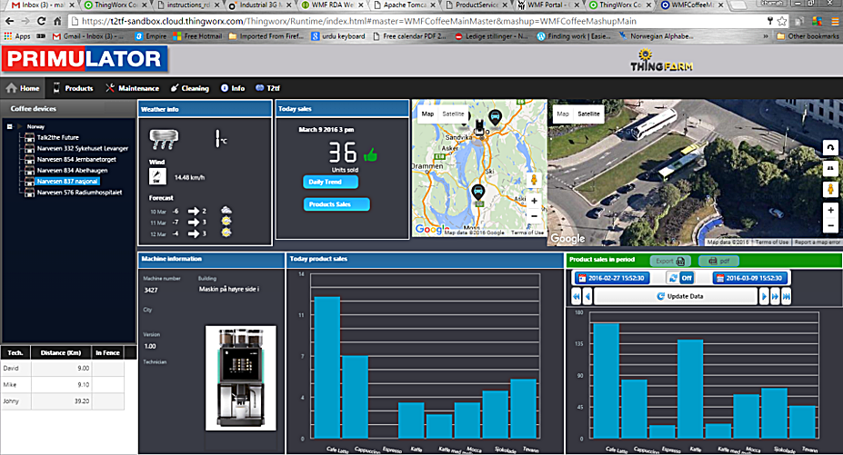 Monitoring a WMF coffee machine located in oslo.   be able to cross diffrent data such as weather forecast and urbanization data or any data POS or from erp system for predicting the outcome and delivering predictive analytic`s -  ThingFarm IoT and Machine Learning platform.