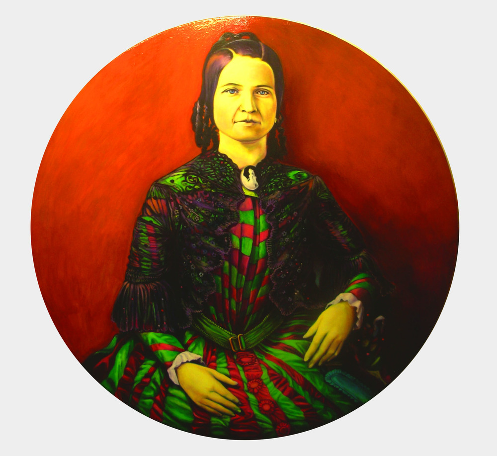 """Mary Todd Lincoln"", fluorescent paint on canvas  48""round - 2012"