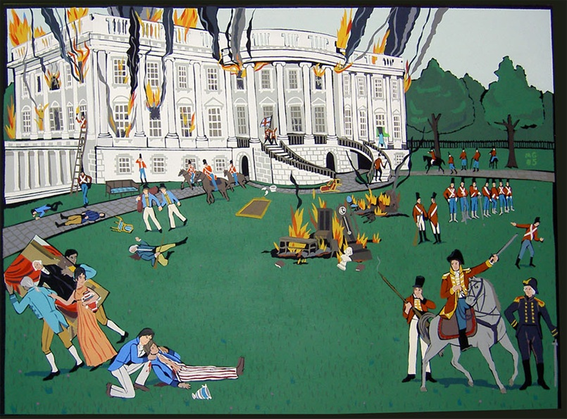 """The Brittish burning the Whitehouse, acrylic on canvas 2006 36""x48"""