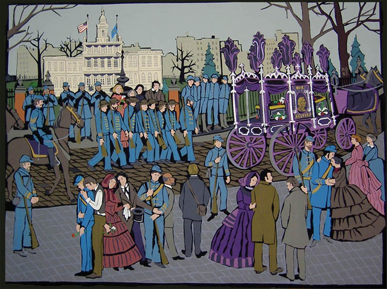 """Lincoln's Funeral"", acrylic on canvas 2006 36""x48"""