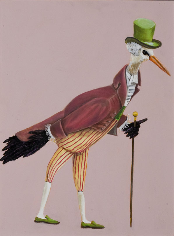 """Crane Dandy"", house paint on canvas - 2012"